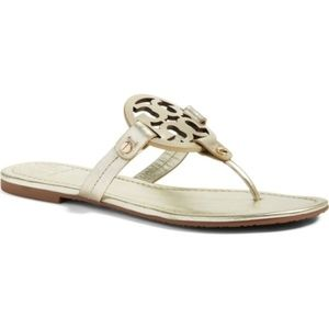 Tory Burch Miller Flip Flop Gold Leather Size 10 M